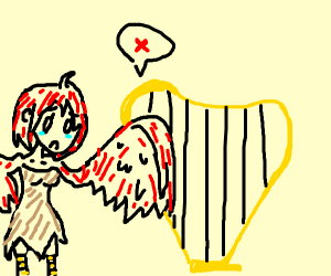 Harpy is sad she can't play a harp