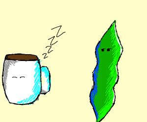 green pea pod looking at sleeping coffee