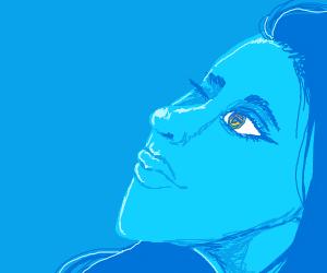 Blue girl Winking