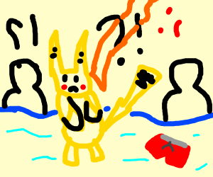 Pikachu lost its swim trunks at the pool