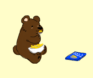 bear eats macaroni