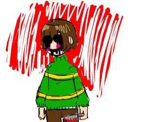 Little evil girl holding a knife
