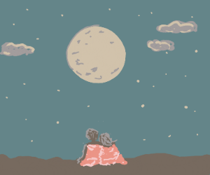 Aww. A blanketed couple looks at the moon.
