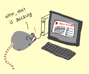 A mouse surprised by youtube on the computer
