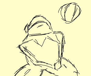 Frog with muscular human legs plays volleybal
