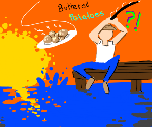 Someone fishing for buttered potatoes