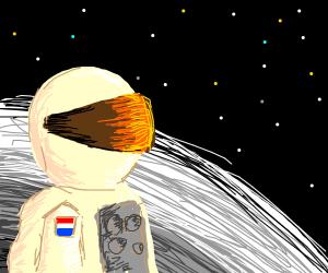 An austronaut on the moon