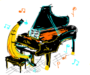 banana plays grand piano