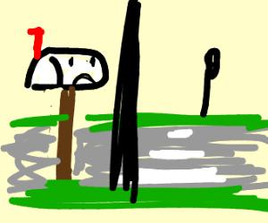 a sad mailbox dreams of crossing the road