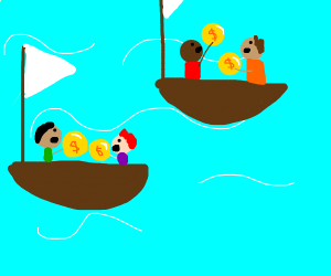 Men in boats with giant coins