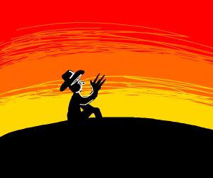 Freddy Kruger in a sunset