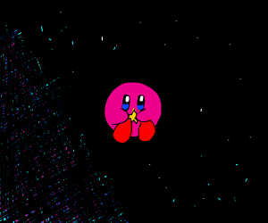 Kirby holding a star in space