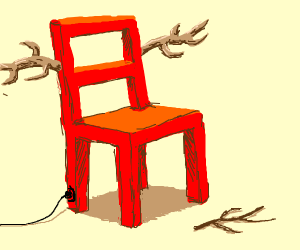 A wired red chair with antlers?And a stick