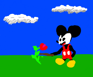 Mickey pokes flower with a stick