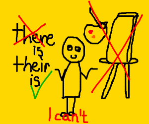 Dumb guy can't spell or paint on canvas