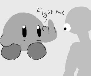 Greyscale Kirby demands a fight