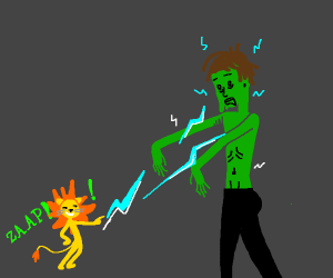 Small lion zaps zombie