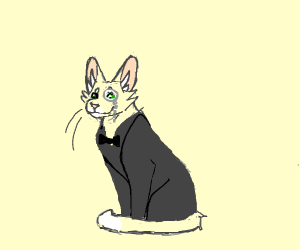 a cat wearing a specticle in a fancy suit