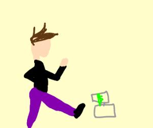 a man kicking a cash register