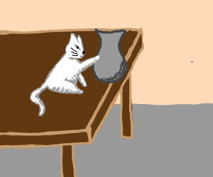 Cat knocking stuff off table - Drawception