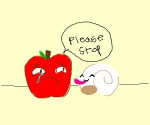 A shell licking an apple