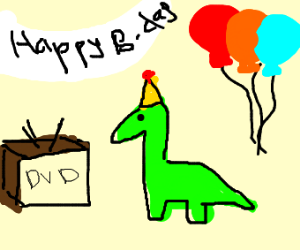 green dino b-day w/ hat on an old tv (dvd)