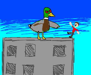 giant evil duck pushes guy off a building