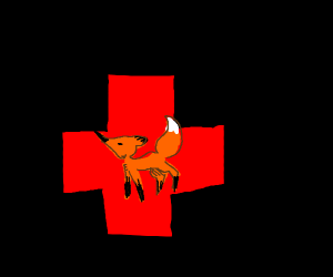 red cross with fox in front
