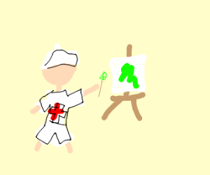 nurse painting something green