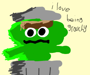 oscar the grouch easing his grouchiness