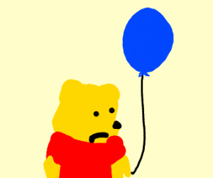 sad winnie the pooh with a balloon
