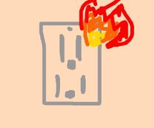 Electrical socket shoots fire