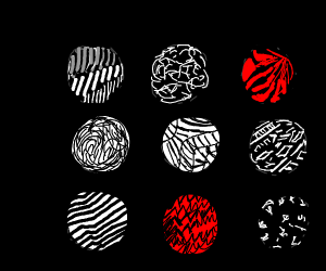 9 circles with different patterns inside them