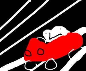 Frog driving car