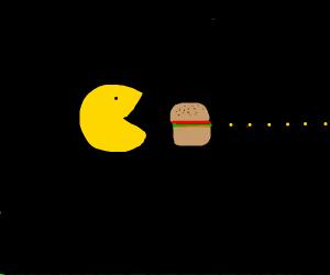 PacMan eats burger