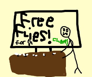 Free flies for $4! Is very cheap!