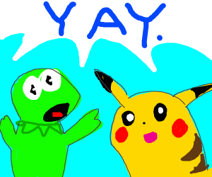 "Kermit and Pikachu saying, ""YAY."""