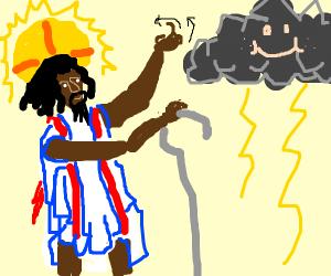 Jesus calls down a thunderstorm