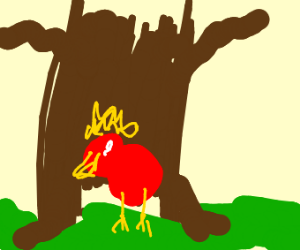 red chicken w yellow afro in a dead tree