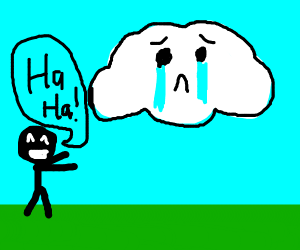 boy laughs at crying clouds