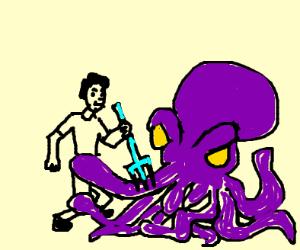 octopus fights man