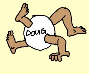 doug, white, three legged, one armed ball