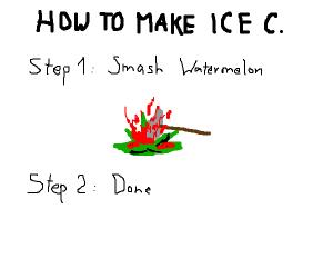 Smash watermelon to make ice cream