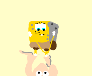 Eyeless Spongebob is stuck to two pink corals