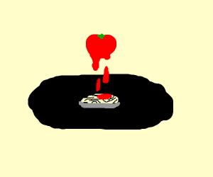 pasta under big melting tomato