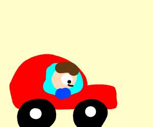 dude in a car