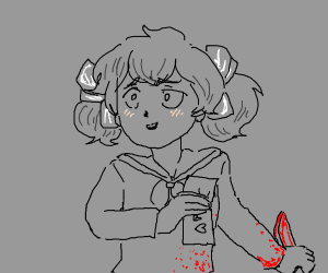 Yandere girl with knife and blood