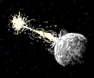 Sun laser eyes destroy the moon, earth shoked