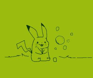 Pikachu blows bubbles