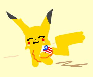 Pikachu loves the American flag